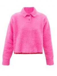 JACQUEMUS Neve pink point-collar textured sweater ~ womens bright fluffy collared jumpers