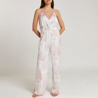 RIVER ISLAND Pink printed satin and lace jumpsuit