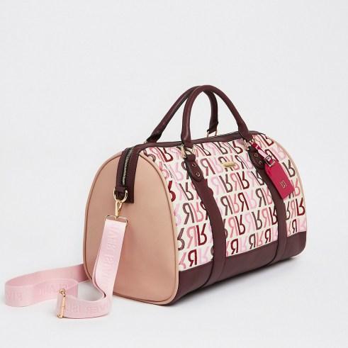 RIVER ISLAND Pink RI branded barrel bag ~ oblong top handle bags - flipped