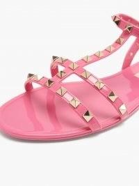 VALENTINO GARAVANI Rockstud jelly flat sandals in pink ~ strappy stud covered summer flats
