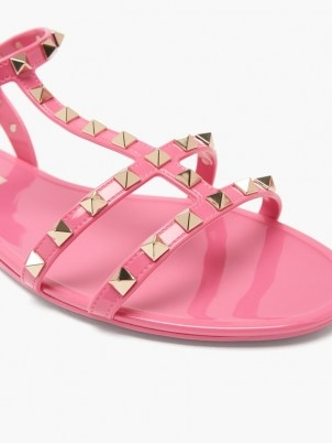 VALENTINO GARAVANI Rockstud jelly flat sandals in pink ~ strappy stud covered summer flats - flipped