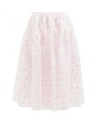 CECILIE BAHNSEN Rosie tiered floral-jacquard midi skirt | womens romantic style summer skirts