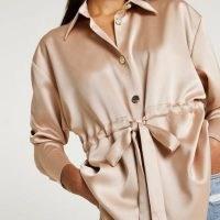 RIVER ISLAND Pink satin tie front shirt ~ womens feminine gathered waist shirts