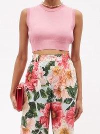 DOLCE & GABBANA Sleevless pink silk cropped top ~ luxe designer knitwear ~ womens sleeveless crop hem tops