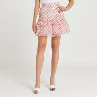 RIVER ISLAND Pink spot print frill organza mini skirt / womens tiered skirts