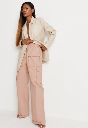 MISSGUIDED pink straight leg cargo trousers ~ womens casual on trend pants - flipped