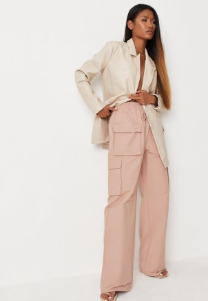 MISSGUIDED pink straight leg cargo trousers ~ womens casual on trend pants