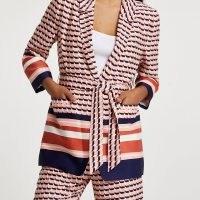 RIVER ISLAND Pink stripe belted blazer ~ womens tie waist printed blazers