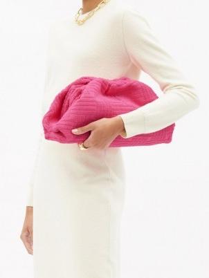 BOTTEGA VENETA The Pouch Intrecciato-jacquard pink terry bag ~ large bright clutch bags ~ womens designer handbags