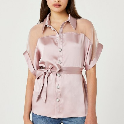 RIVER ISLAND Pink tie waist embellished shirt ~ womens semi sheer shirts - flipped