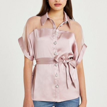 RIVER ISLAND Pink tie waist embellished shirt ~ womens semi sheer shirts