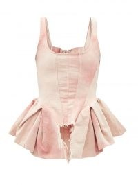 MARQUES'ALMEIDA Pink tie-dye peplum-side organic-cotton corset top | fitted bodice flared hem tops