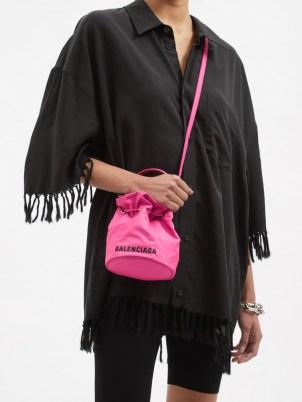 BALENCIAGA Wheel XS canvas bucket bag ~ womens small logo print crossbody bags ~ women's designer accessories