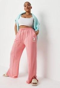 playboy x missguided plus size pink logo straight leg joggers ~ womens bunny motif jogging bottoms ~ split hem jogger
