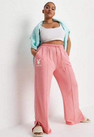 playboy x missguided plus size pink logo straight leg joggers ~ womens bunny motif jogging bottoms ~ split hem jogger - flipped