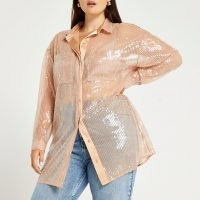 RIVER ISLAND Plus beige oversized fit sequin shirt / womens plus sized sequinned shirts / shimmering luxe style fashion