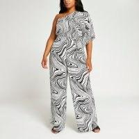 River Island Plus black marble print wide leg jumpsuit   monochrome psychedelic prints   womens one shoulder jumpsuits   women's plus size going out fashion