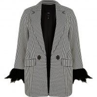 RIVER ISLAND Plus black tailored feather cuff blazer ~ womens checked on trend plus size blazers ~ women's fashionable jackets