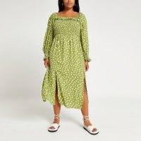 RIVER ISLAND Plus green spot print shirred maxi dress / womens plus size split hem summer dresses