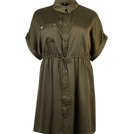 RIVER ISLAND Plus khaki tie waist shirt dress ~ womens green plus size dresses - flipped
