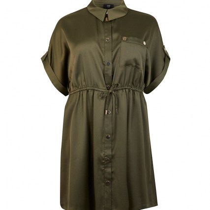 RIVER ISLAND Plus khaki tie waist shirt dress ~ womens green plus size dresses