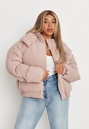 MISSGUIDED plus size pink soft touch puffer jacket ~ womens puffa jackets - flipped