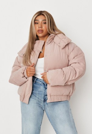 MISSGUIDED plus size pink soft touch puffer jacket ~ womens puffa jackets