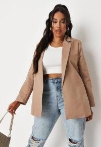 MISSGUIDED plus size stone tailored longline blazer ~ women's fashionable open front blazers