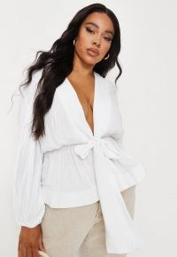 Missguided plus size white cheesecloth plunge flippy hem blouse | deep V-neck | plunging neck blouses