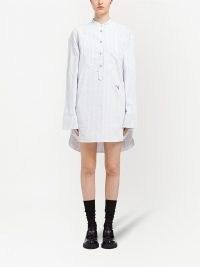 Prada pinstriped shirt dress ~ chic cotton dip hem shirt dresses ~ womens casual designer fashion ~ high low hemline
