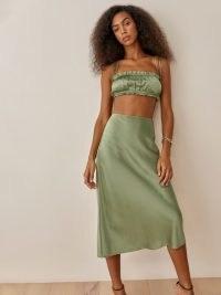 REFORMATION Pratt Skirt Artichoke   green silk charmeuse skirts