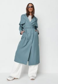 MISSGUIDED premium teal covered buckle trench coat ~ womens classic belted coats