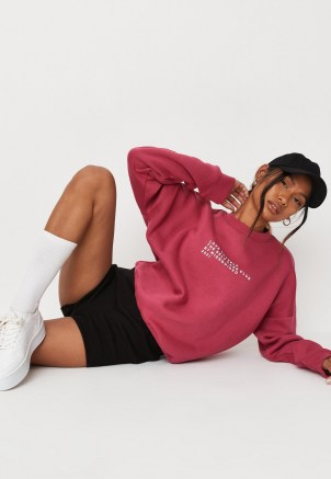 princes trust x missguided raspberry love thyself oversized sweatshirt ~ dark pink slogan sweatshirts