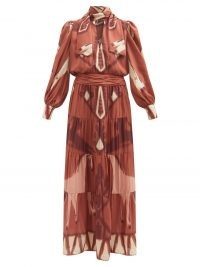 JOHANNA ORTIZ Deep Hope recycled-fibre satin maxi dress – ancient inspired animal prints – horse print dresses