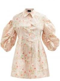 SIMONE ROCHA Floral-print pink cotton-poplin shirt dress – retro flower prints – collard balloon sleeve front button dresses – romantic fashion