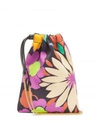 SAINT LAURENT Floral-print drawstring satin iPhone pouch   women's retro look accessories   vintage style prints