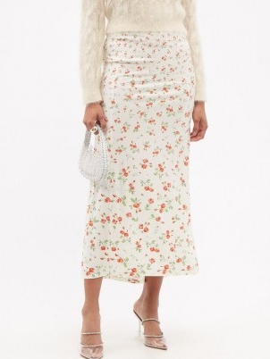 PACO RABANNE Floral-print jersey midi skirt / feminine fluid fabric skirts
