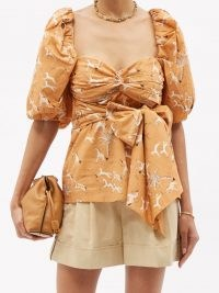 JOHANNA ORTIZ Latin Gaucho puffed-sleeve cotton-poplin top – bow embellished tie waist tops ~ horse print blouses