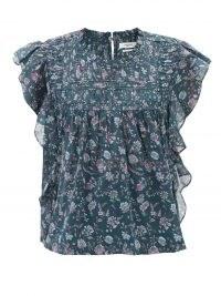 ISABEL MARANT ÉTOILE Layona cap-sleeve floral-print cotton top ~ feminine flutter sleeve boho tops