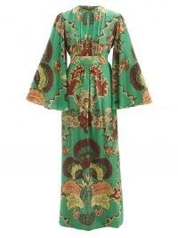 JOHANNA ORTIZ Mystical Importance silk crepe de Chine dress – green printed wide sleeve maxi dresses – glamorous 70s vintage inspired fashion