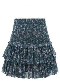 ISABEL MARANT ÉTOILE Naomi high-rise floral-print cotton mini skirt ~ ruffle layered skirts ~ feminine fashion