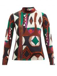 COLVILLE Polo abstract-print jersey top ~ womens long sleeve vintage inspired printed tops