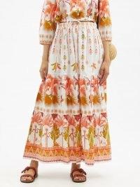 LE SIRENUSE, POSITANO Saskia Winter Garden-print cotton-poplin skirt / white and orange print summer maxi skirts