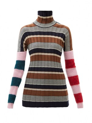 COLVILLE Striped virgin wool-blend ribbed sweater / womens colour block high roll neck sweaters - flipped