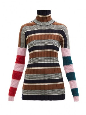 COLVILLE Striped virgin wool-blend ribbed sweater / womens colour block high roll neck sweaters