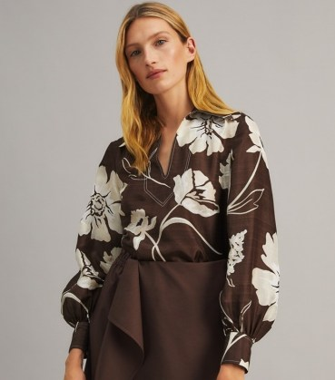 TORY BURCH PRINTED SILK TUNIC TOP Deep Chocolate Daisy 21 / brown bold floral print tops - flipped