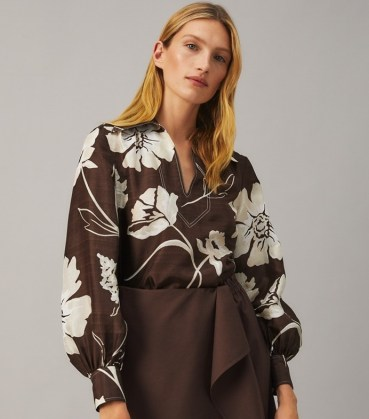 TORY BURCH PRINTED SILK TUNIC TOP Deep Chocolate Daisy 21 / brown bold floral print tops