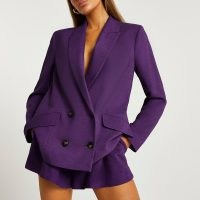 RIVER ISLAND Purple double breasted oversized blazer ~ womens on trend blazers ~ women's fashionable jackets
