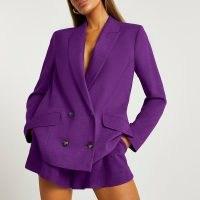 RIVER ISLAND Purple double breasted oversized blazer ~ womens fashionable jackets ~ women's on trend blazers