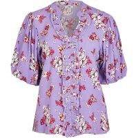 RIVER ISLAND Purple floral puff sleeve blouse ~ ruffle trim blouses